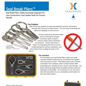 This datasheet describes the benefits and uses of seal break pliers by HOLLOWAY AMERICA.