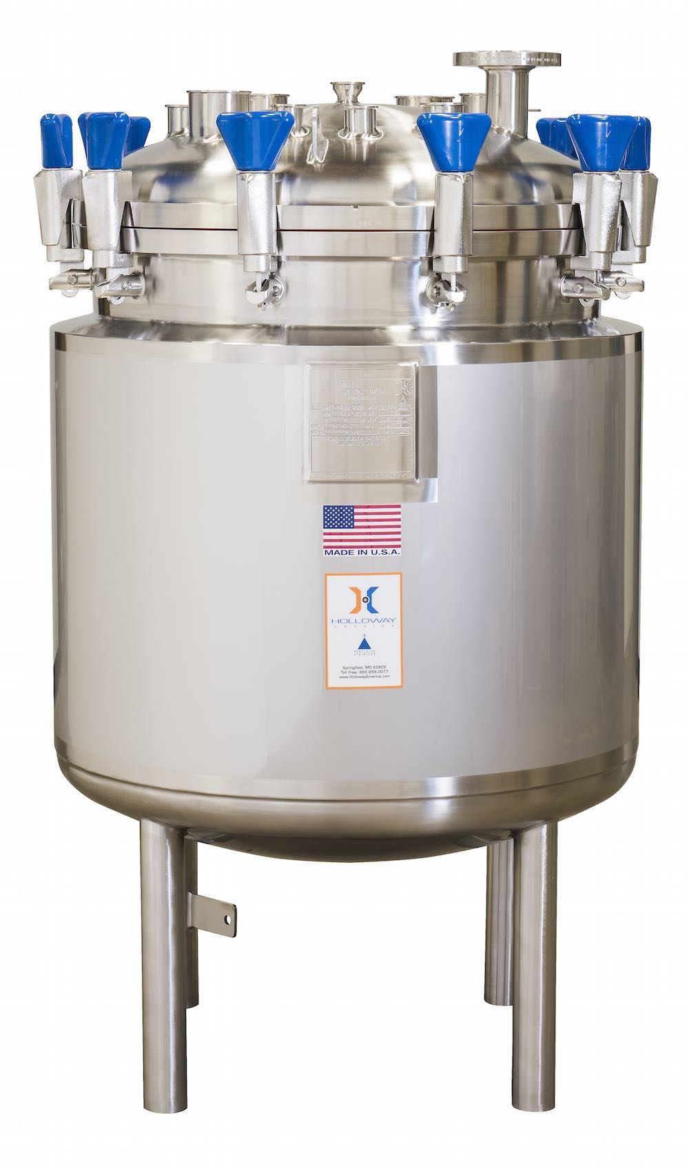 Holloway's ASME pressure vessels are available as CIP vessels, like this one.