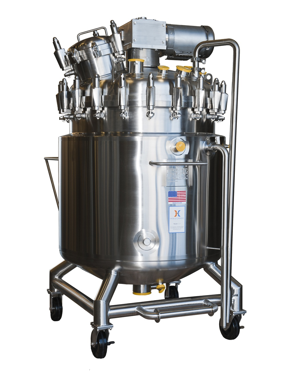 The mixing tank with portable mixing vessel design can come with a manway, like this.