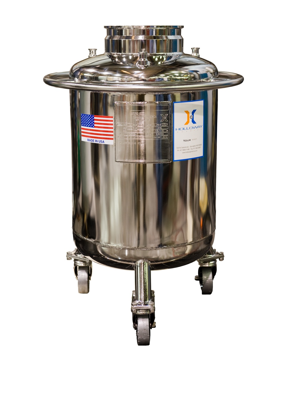 A vertical vessel, this is one of Holloway's portable pressure vessels for the laboratory.