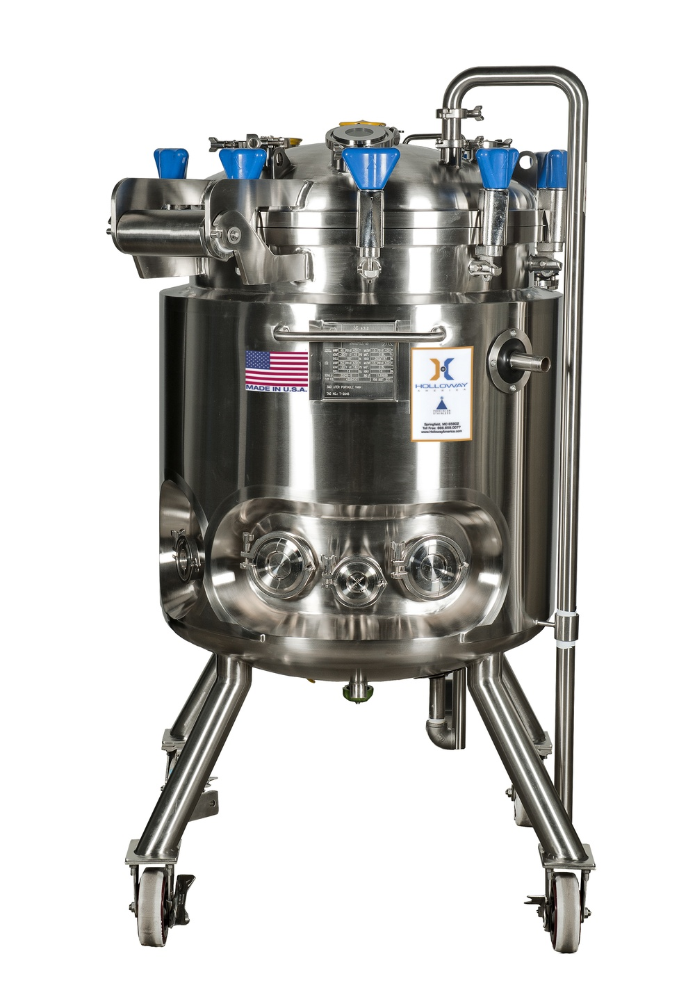 This vertical laboratory pressure vessel is portable.