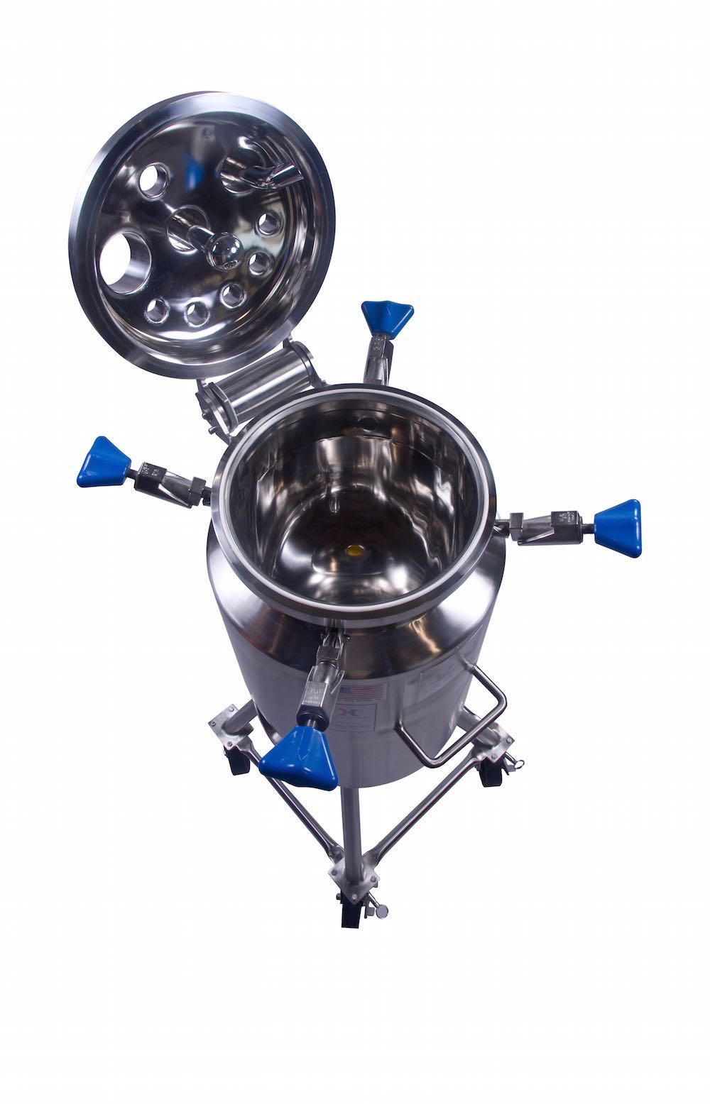Portable pressure vessels with open top, like this vertical vessel, move from laboratory to laboratory.